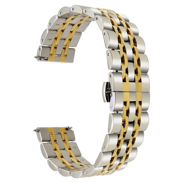 Ремешок 22мм BeWatch classic стальной Link Xtra для Samsung Galaxy Watch 46 мм Silver - Gold (1021428.x)
