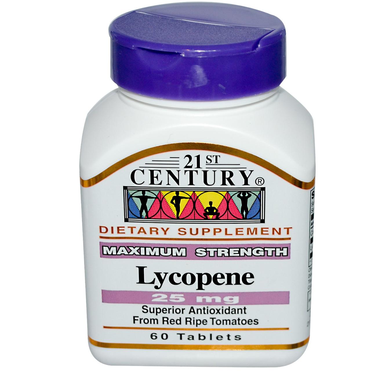 Ликопин, максимальная сила, 21st Century. Сделано в США. 25 мг, 60 таблеток