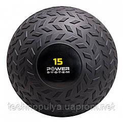 М'яч SlamBall для кросфита і фітнесу Power System PS-4117 15 кг Чорний