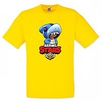 Футболка детская Бравл Старс Леон Акула  (Brawl Stars Shark) желтая