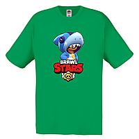 Футболка детская Бравл Старс Леон Акула  (Brawl Stars Shark) зеленая