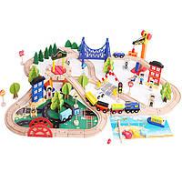Деревянная игрушка Деревянная железная дорога, 108 дет., развивающие товары для детей.