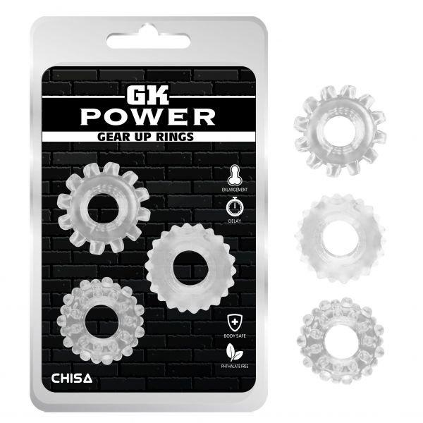 Эрекционные кольца без вибрации GK Power Cock Rings 3 шт Set-Clear