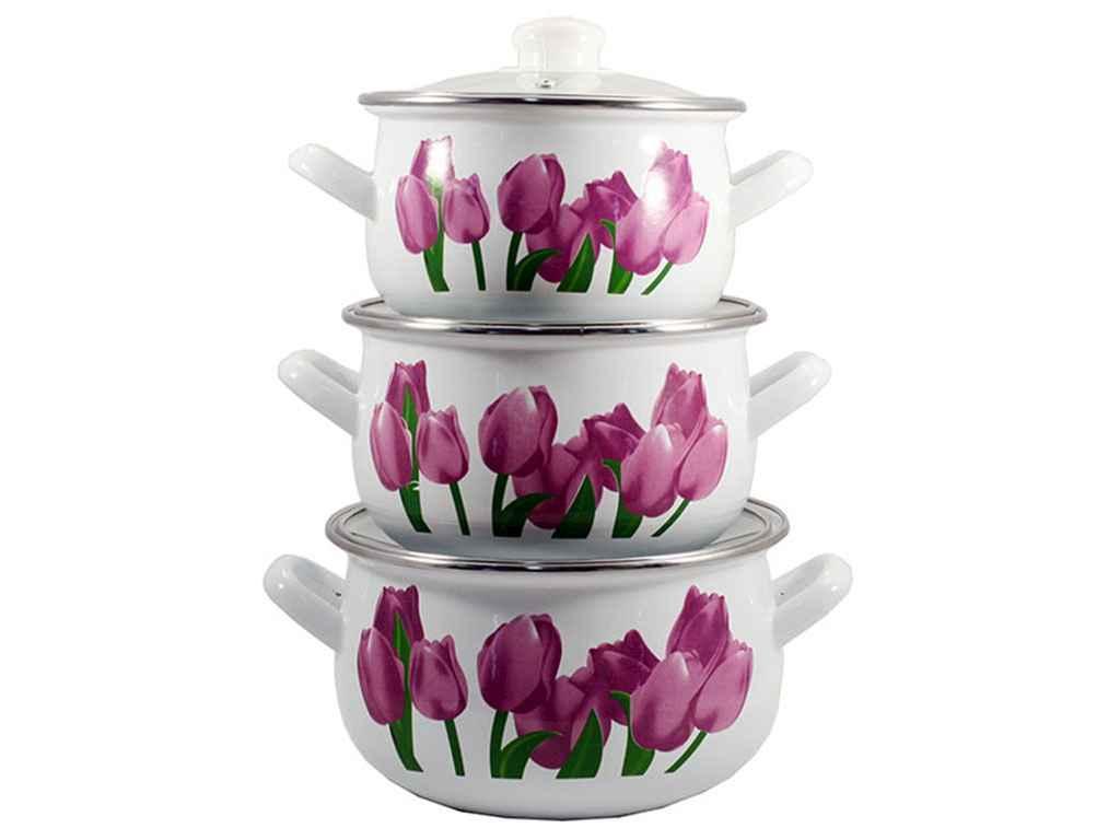 Набор эмалированной посуды Interos Тюльпаны 3 предмета (84314)