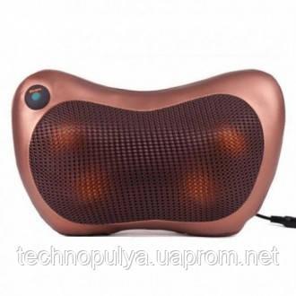 Массажер SUNROZ Neck Massager Pillow массажная подушка для области шеи и головы Коричневый (1304_2)