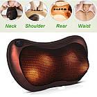 Массажер SUNROZ Neck Massager Pillow массажная подушка для области шеи и головы Коричневый (1304_2), фото 4