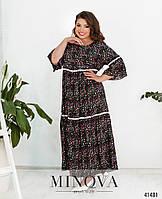 """Повседневное свободное платье в стиле """"Бохо"""" из штапеля Большие размеры 52-60"""