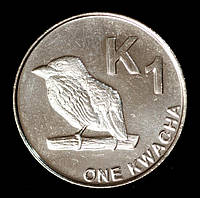 Монета Замбии 1 квача 2012 г. Замбийский дятел