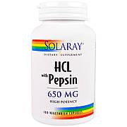 Бетаин HCL и Пеппсин, HCL with Pepsin, Solaray, 650 мг, 100 вегетарианских капсул
