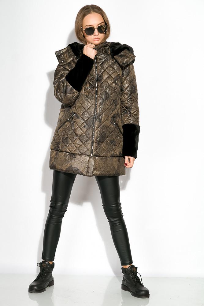 Пуховик женский с меховыми вставками на рукаве 127PZ18-270 (Светло-коричневый/черный)
