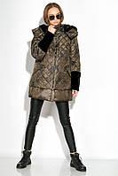 Пуховик женский с меховыми вставками на рукаве 127PZ18-270 (Светло-коричневый/черный), фото 1