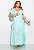 Длинное однотонное платье 120PVC1045 (Светло-бирюзовый)
