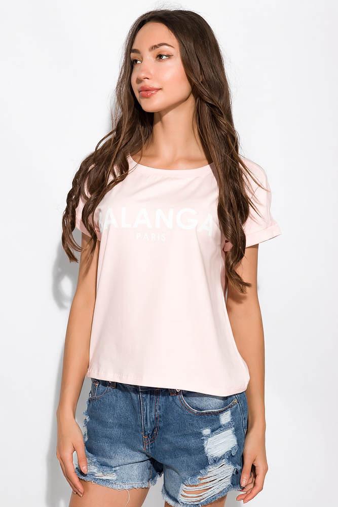 Стильная футболка с надписью 151P184 (Светло-розовый)