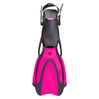 Ласты для дайвинга резиновые с открытой пяткой Dolvor RUFF Пластик Розовый (СМИ F98P) S (34-38)