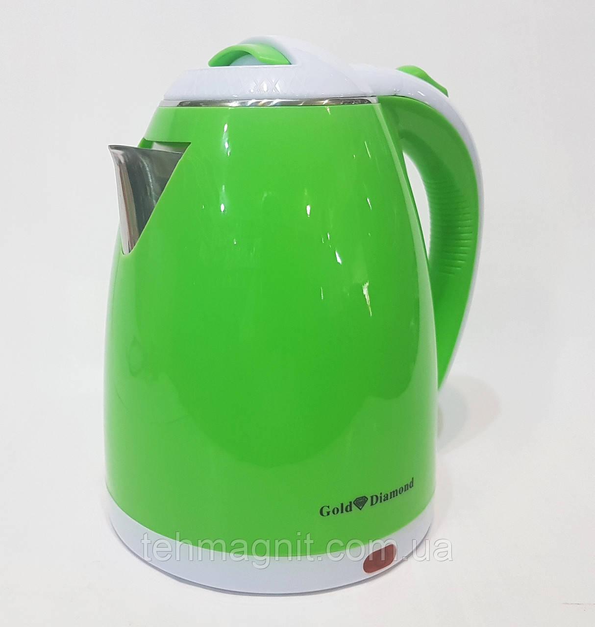 Чайник нержавійка Gold Diamond c пластикової покриття TK-00028G , 2000w, 2 л