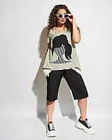 Женский модный костюм (шорты+футболка)Батал новинка 2020, фото 1