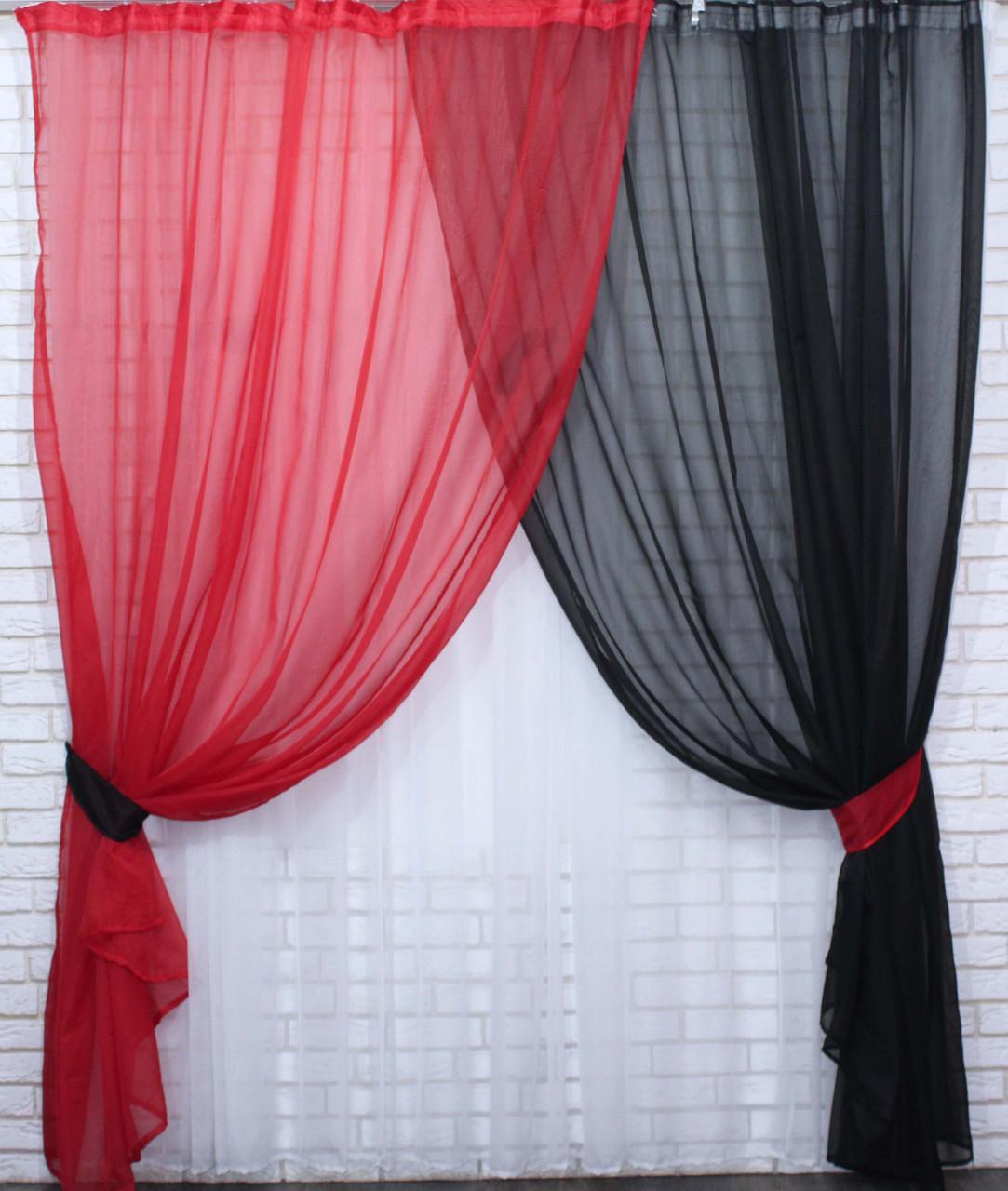 Комплект декоративных штор из шифона, цвет красный с черным . 026дк