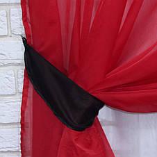 Комплект декоративных штор из шифона, цвет красный с черным . 026дк, фото 2