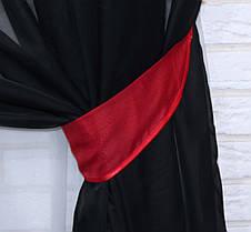 Комплект декоративных штор из шифона, цвет красный с черным . 026дк, фото 3