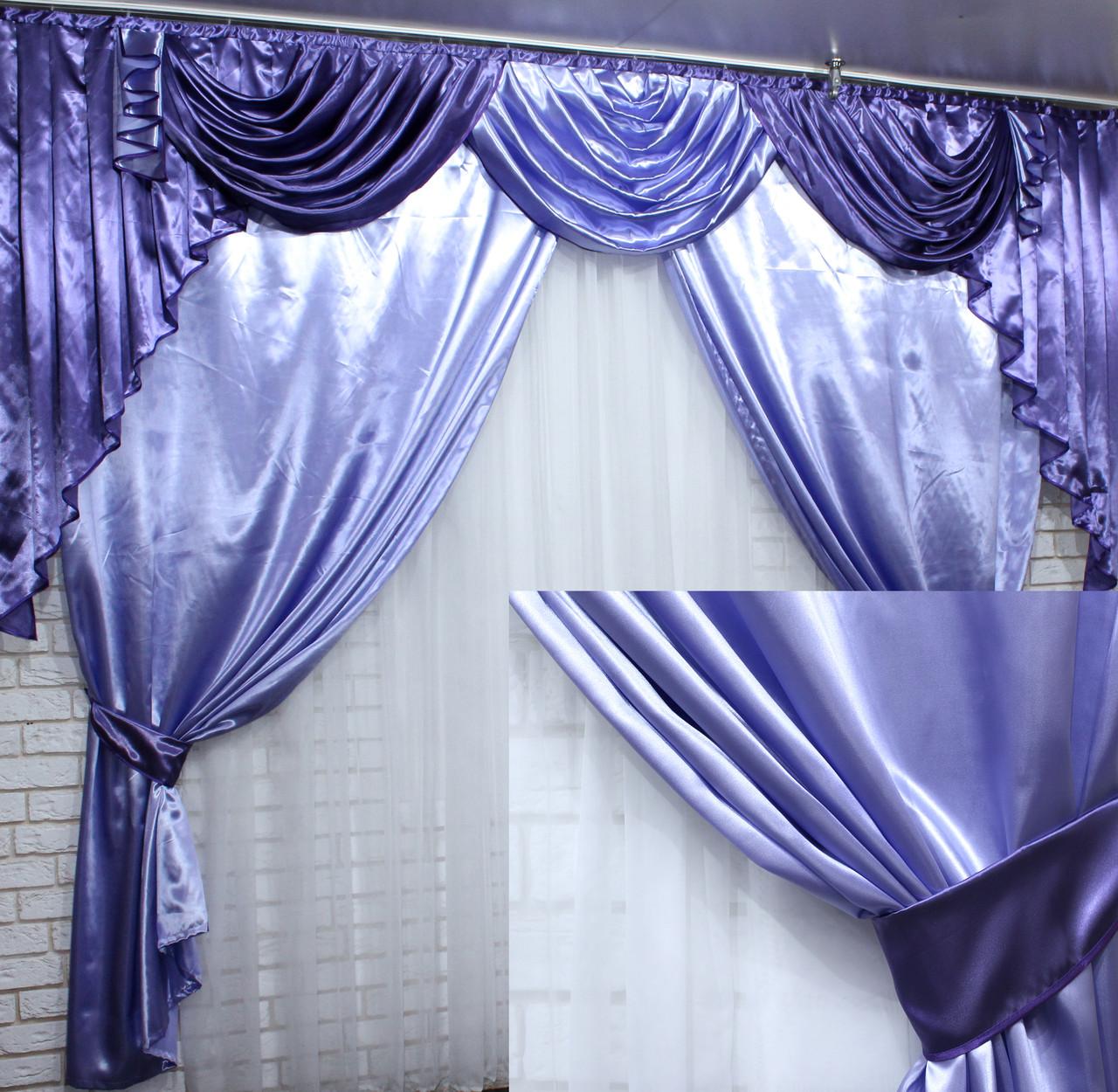 Ламбрекен и шторы из атласа  №49 Цвет лиловый с фиолетовым  (3*2,4) 79-002
