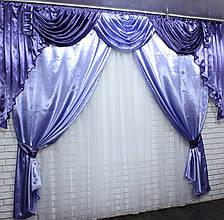 Ламбрекен и шторы из атласа  №49 Цвет лиловый с фиолетовым  (3*2,4) 79-002, фото 3