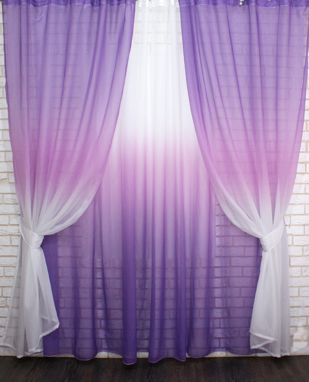 "Комплект растяжка ""Омбре"", ткань батист, под лён. (4х2,5м.+ 2шт.1,5x2,5мЦвет фиолетовый 031дк518 10-112"
