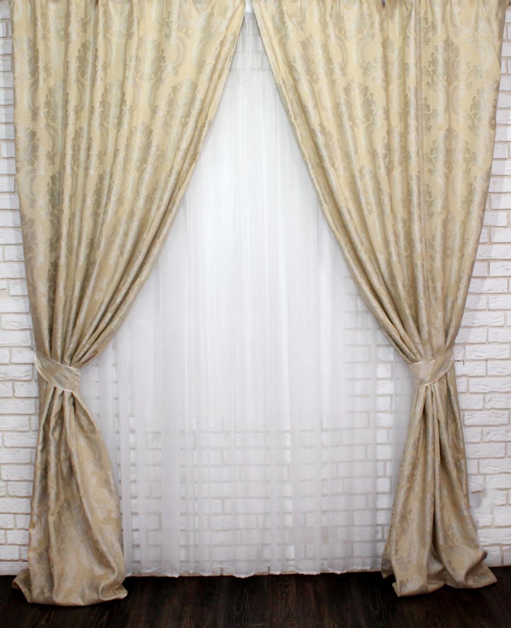 """Комплект готовых штор из ткани лён """"Вензель"""". Цвет светло хелтый Код 544ш"""