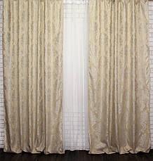 """Комплект готовых штор из ткани лён """"Вензель"""". Цвет светло хелтый Код 544ш, фото 2"""