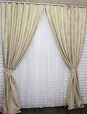 """Комплект готовых штор из ткани лён """"Вензель""""  (2шт. 1,5х2,7) .  Цвет светло желтый  Код  544ш 30-302, фото 2"""
