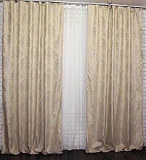 """Комплект готовых штор из ткани лён """"Вензель""""  (2шт. 1,5х2,7) .  Цвет светло желтый  Код  544ш 30-302, фото 3"""