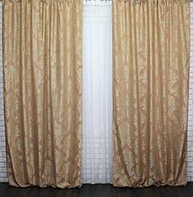 """Шторы блекаут лен рогожка, коллекция """"Диамант"""". Цвет оранжевый Код 545ш, фото 2"""