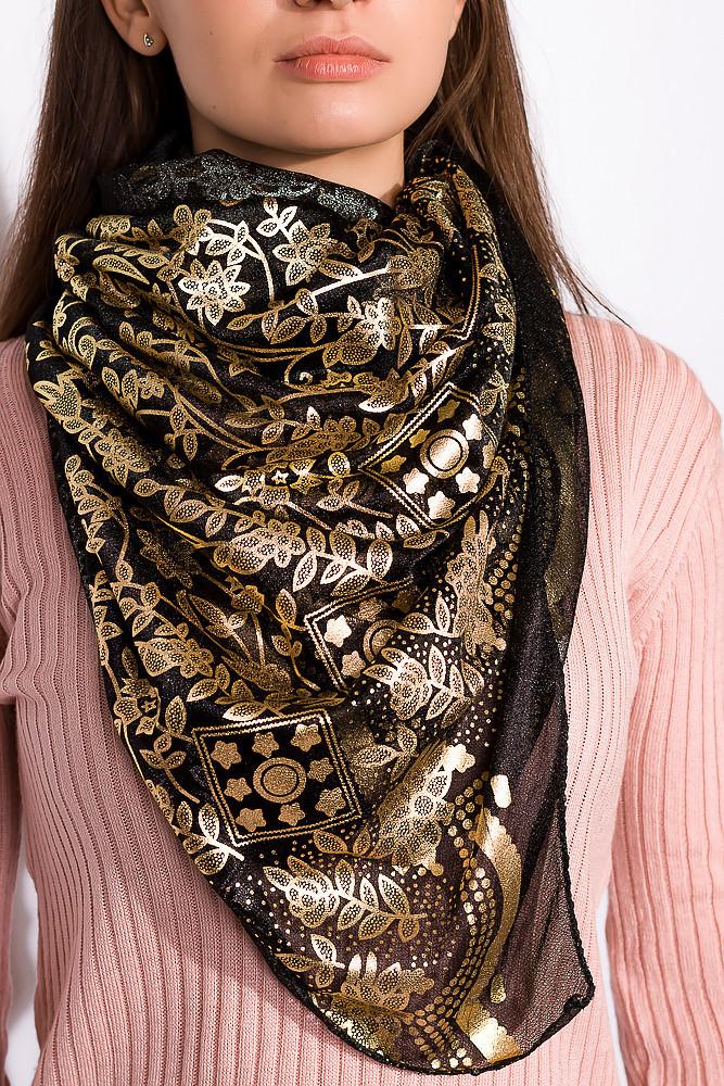 Шарф женский 120PELMR007 (Черно-золотой)