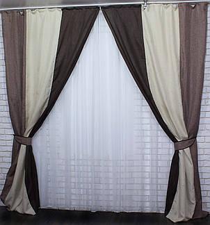 Шторы из ткани лен-мишковина. Цвет коричневый с бежевым и капучино. Код 016дк. (1,5м*2,7м.) 10-094, фото 2