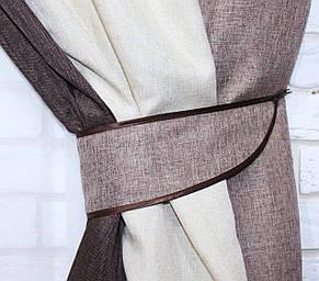 Шторы из ткани лен-мишковина. Цвет коричневый с бежевым и капучино. Код 016дк. (1,5м*2,7м.) 10-094, фото 3