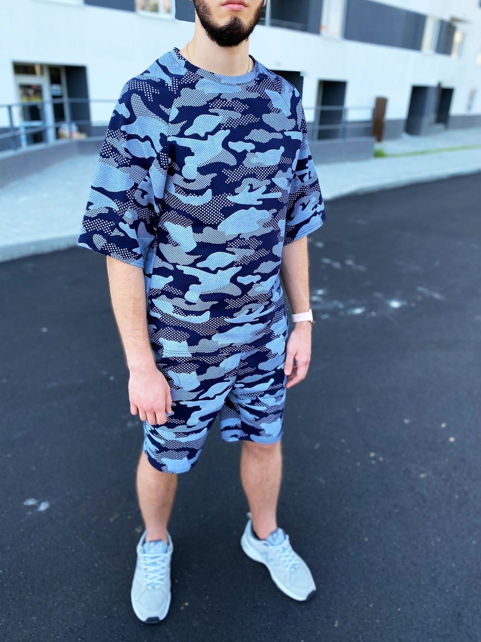 Мужской летний комплект Оверсайз, футболка и шорты S0312