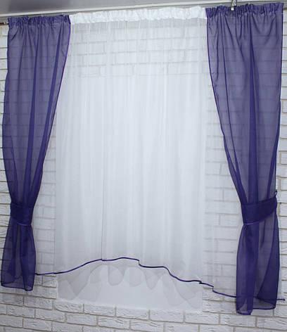 Комплект кухонные шторки с подвязками. Цвет фиолетовый с белым №051к 50-078, фото 2