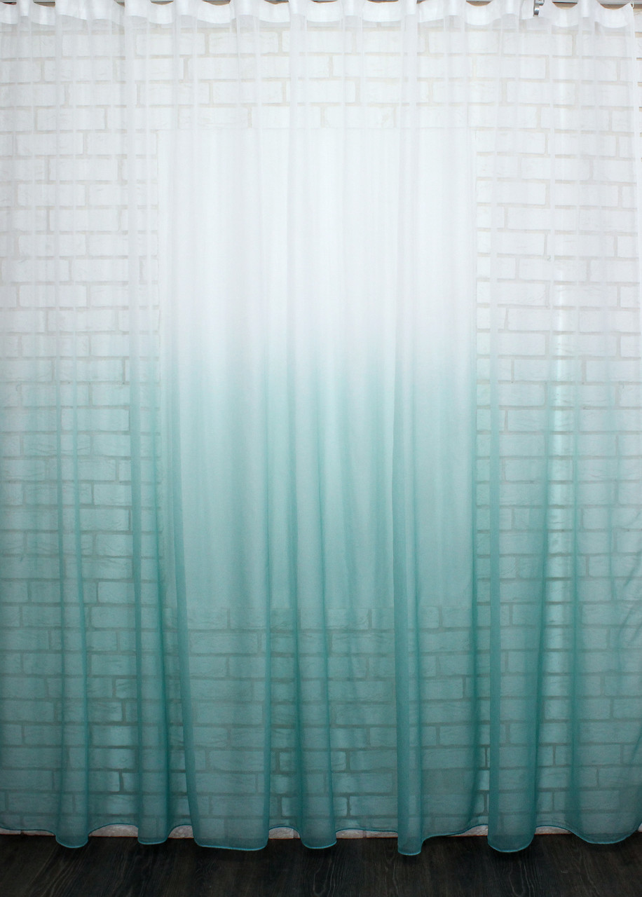 "Тюль растяжка ""Омбре"" на батисте (под лён) с утяжелителем, цвет бирюзовий с белым 517т"