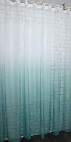 "Тюль растяжка ""Омбре"" на батисте (под лён) с утяжелителем, цвет бирюзовий с белым 517т, фото 2"