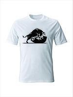Футболка прикольная   мужская с рисунком  Быка    ( черный. синий. серый. белый) (размеры XS/ S/ M/ L/ XL/ XXL