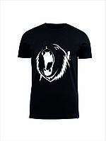 Футболка прикольная   мужская   Медведь ( черный. синий. серый. белый) (размеры XS/ S/ M/ L/ XL/ XXL