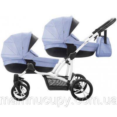 Детская универсальная коляска 2 в 1 для двойни Bebetto B 42 Premium New 02 Синий