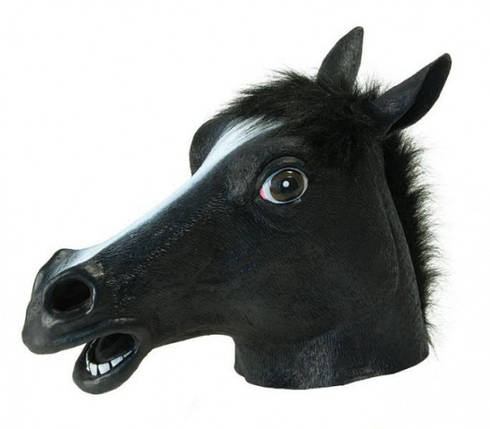Маска голова лошади (коня) - черная, фото 2