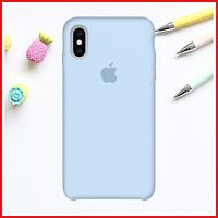 Нежно-голубой силиконовый чехол на iPhone X/Xs