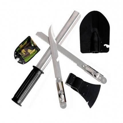 Набор походный 5 в 1. Лопата, открывашка,пила, топор, нож, фото 2