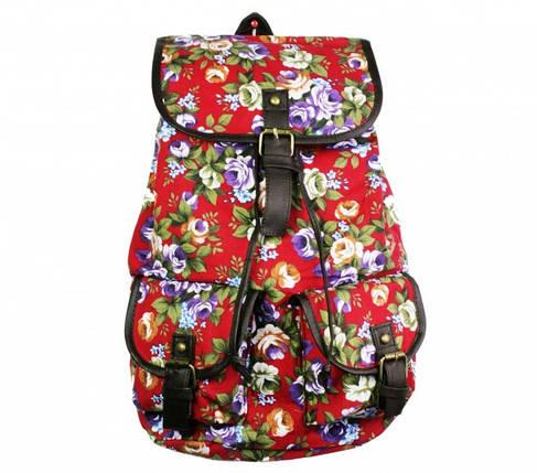 Рюкзак Холщовый Pattern красный Пионы, фото 2