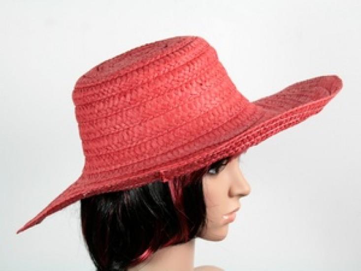 Соломенная шляпа Тисаж 42 см красная