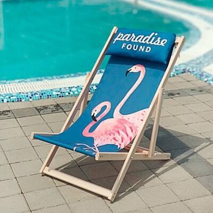 Шезлонг складной для пляжа Розовые Фламинго, фото 2