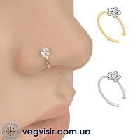 Септум обманка в нос пирсинг цветок 2 цвета клипс Фейк носовые кольца из нержавеющей стали