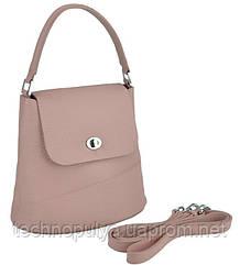 Женская кожаная сумка бакет-бег розовая пудра Riche W14-7718P