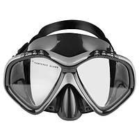 Маска для подводного плавания Dolvor Поликарбонат Обтюратор PVC Закаленное стекло Черно-серый (СМИ M1907)